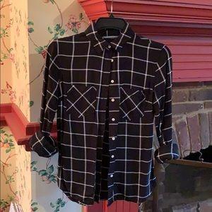 Windowpane button-up blouse